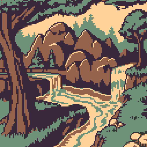 Been a while. Here's a #relaxing landscape for @Pixel_Dailies   #pixel_dailies #pixelart #4color<br>http://pic.twitter.com/7rJF6KJkb1