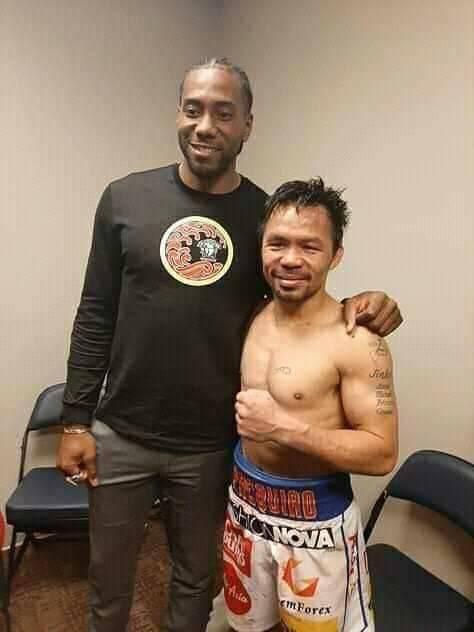 Campion X Champion. Kawhi Leonard yesterday at #PacquiaoThurman #Clippers