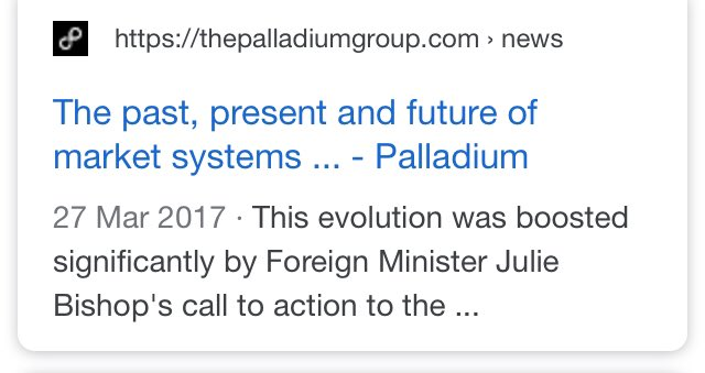 Palladium has scrubbed some of their webpages mentioning Julie Bishop as far back as 2017