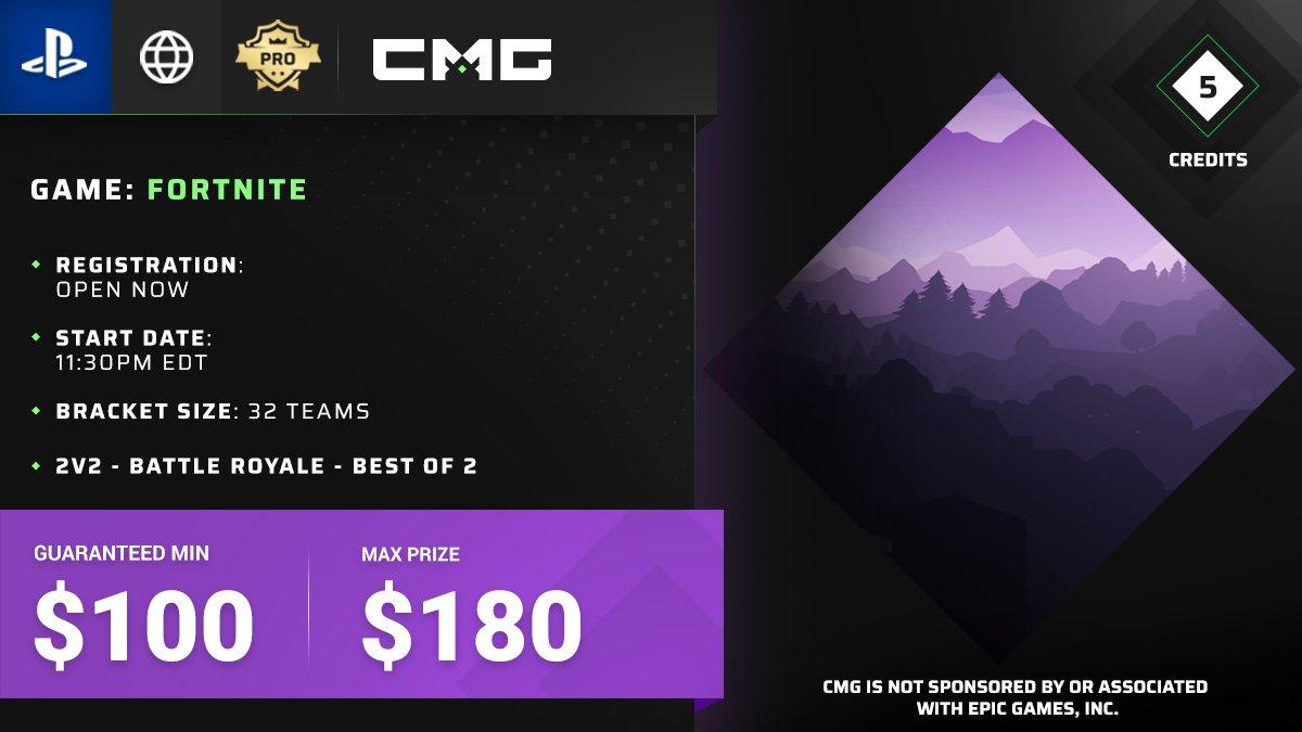 11:30PM EDT - 🤑5 CREDIT GTD!!🤑   💸$100 GUARANTEED CASH PRIZE💸  GLOBAL | 2v2 | #Fortnite | Battle Royale | Best of 2  #CROSSCONSOLE JOIN NOW >  https://www.checkmategaming.com/tournament/cross-console/fortnite/-100-gtd-2v2-battle-royale-best-of-2-99310…  #CheckMateGaming #eSports #OLT