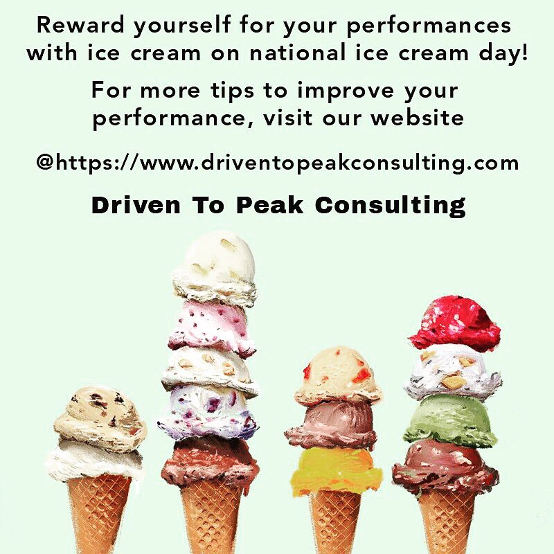Reward yourself for your performances with ice cream on National ice cream day! #reward #NationalIceCreamDay #SmallBusiness #supportsmallbusinesses #positivevibes #motivation #goals #confidence #peakperformance #improve #exercise #sports #athletics #performance #coaching #coach