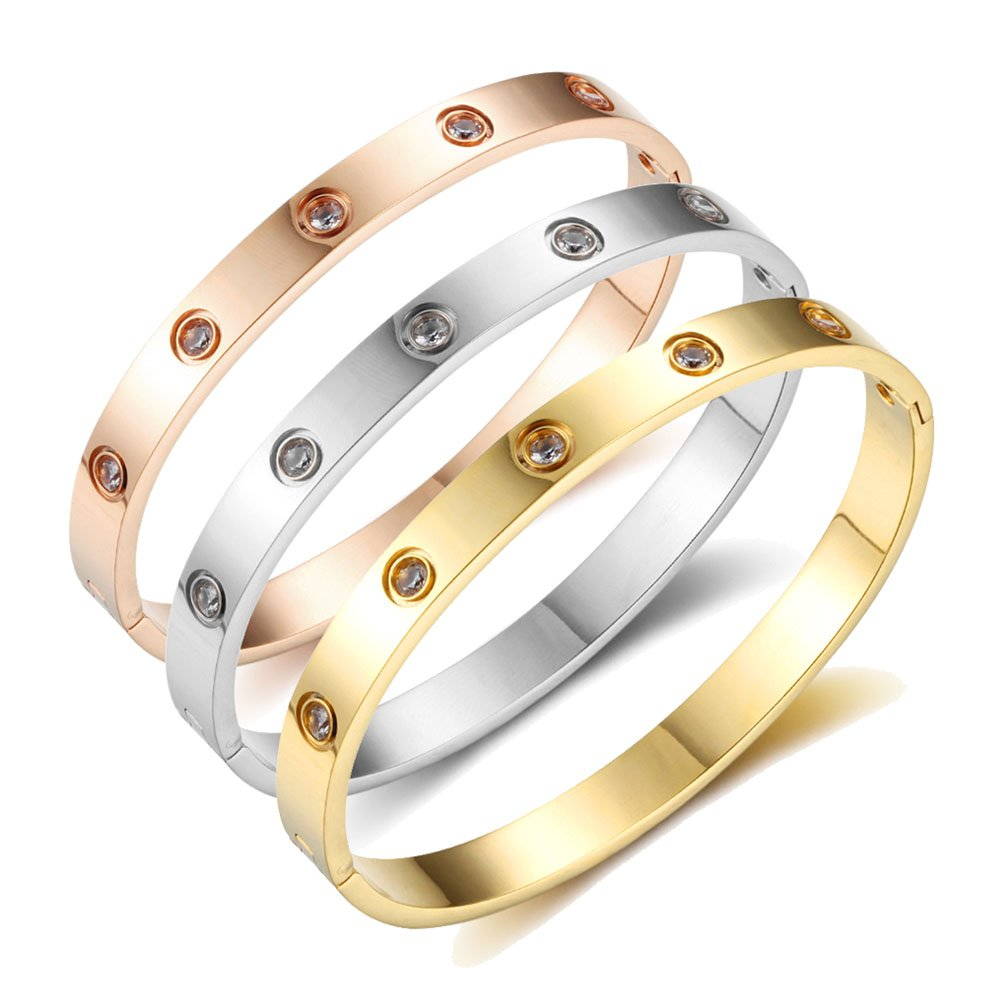 Stainless Steel Bangle with Rhinestones #fashion #style #love #beautiful #shopping #beauty #stylish #cute #girl #pretty #necklace #glam #bracelet #jewellery #swag