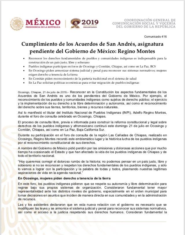 #COMUNICADO | 📰🗞  Cumplimiento de los Acuerdos de San Andrés, asignatura pendiente del Gobierno de México: Regino Montes  @DEELAYUUK @GobiernoMX @ComGobiernoMx