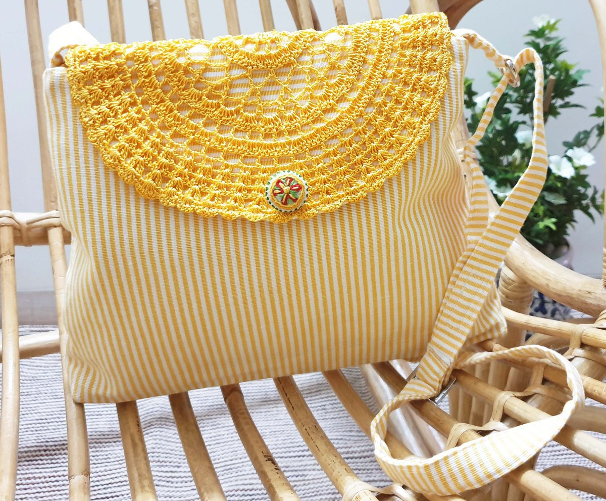 Crochet Yellow n White stripes Sling Bag By Panigha Here for Rs. 952 https://buff.ly/2JF4biW  #accessories #bags #purse #handbags #artisan #handcrafted #shopsmall #craft #madewithlove #handmadewithlove