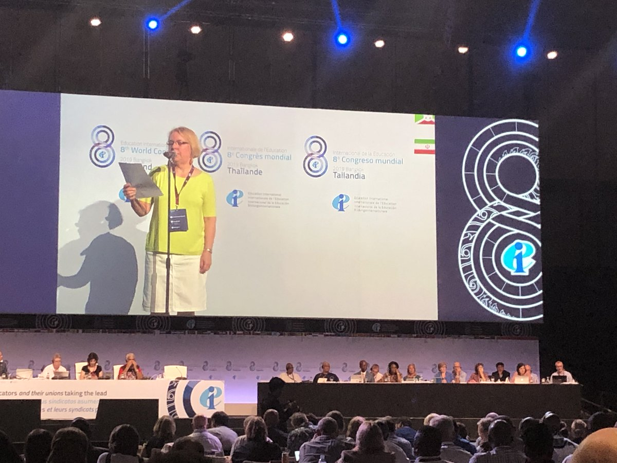 .@CanTeachersFed Dianne Woloschuk successfully calls for equal representation for women in @eduint open seats. #EICongress