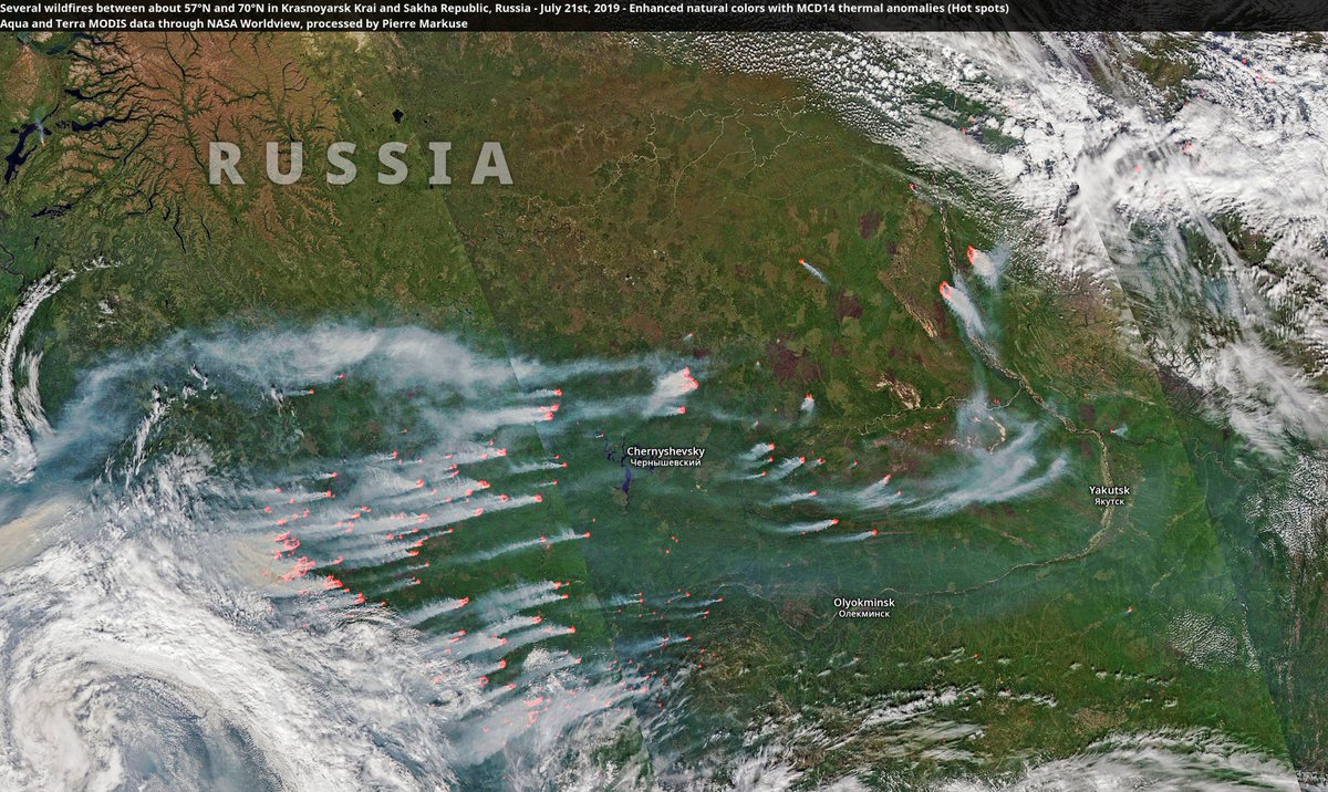 Several wildfires between about 57°N and 70°N in Krasnoyarsk Krai and Sakha Republic, Russia - July 21st, 2019. Aqua/Terra through NASA Worldview, processed by Pierre Markuse