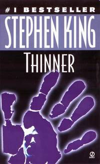 Thinner by Stephen King. !985 Mass Market paperback in very good condition for $3.99 Bizarre and terrible judgment by an ancient Gypsy on a fat lawyer whose careless driving killed Gypsy's daughter. Lawyer starts to get thinner. #Read #horror