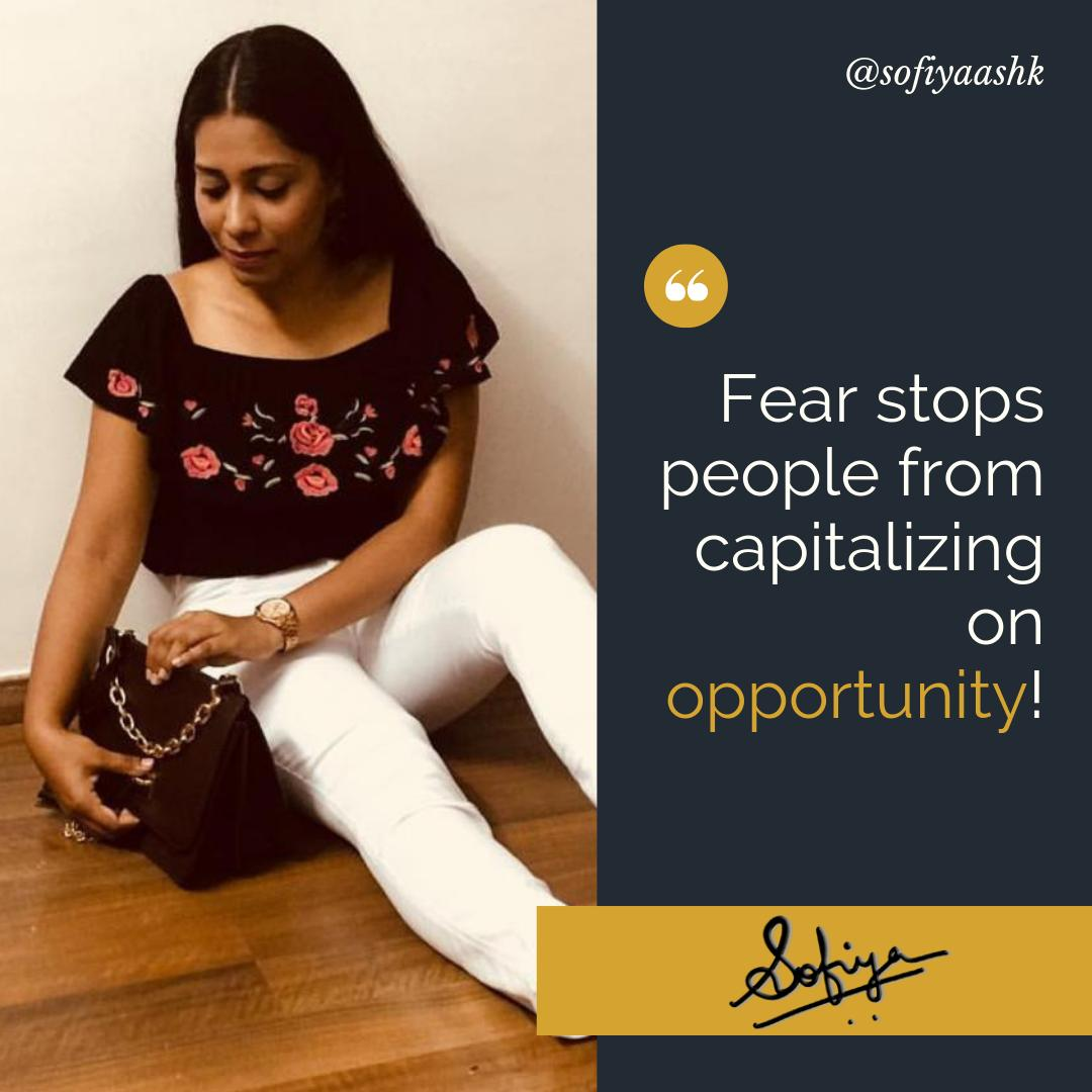 Do still fear and wait for opportunity to knock your door?  . Comment below your fear you would to conquer…. . . Follow @sofiyaashk #creativeentrepreneurship #entreprenuerquotes #entreprenuermindset entreprenuerlifestyle #creativeentrepreneur #entrepreneurn #opportunitypic.twitter.com/KzFrjyEzdG