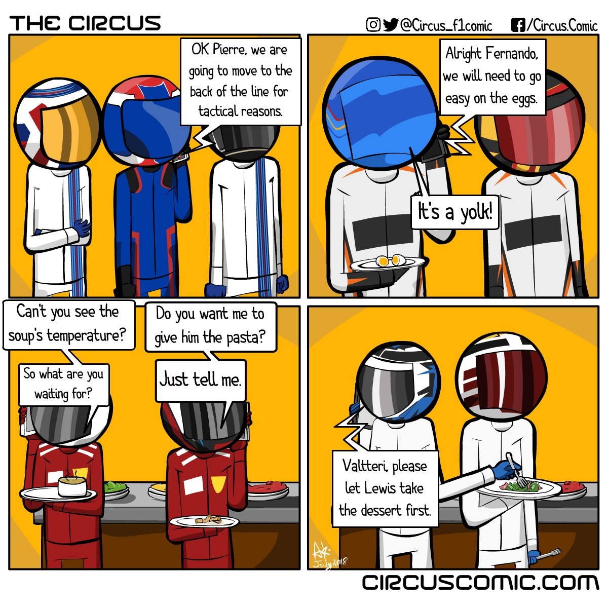 The epic epic 2018 #GermandGrandPrix was held #OnThisDay. Throwback to the comic from last year, following the insane turn of events in the race. #Vettel #Lewis #Kimi #Formula1 #F1