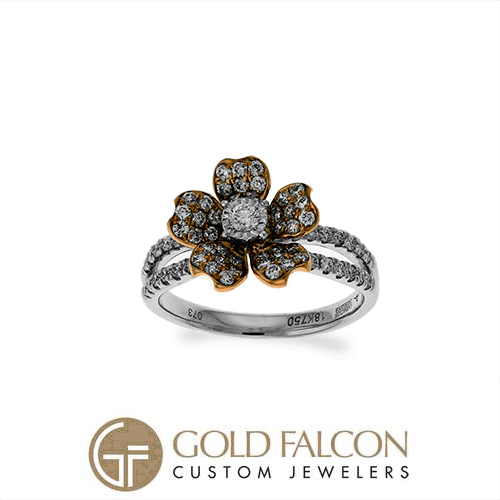 Diamonds and white gold in a unique setting from Carnation Designs! Gold Falcon Custom Jewelers! Your diamond headquarters! #carnationdesigns #corpuschristi #portland #calallen #banquete #rockport #keyallegro #holidaybeach #baysidetx
