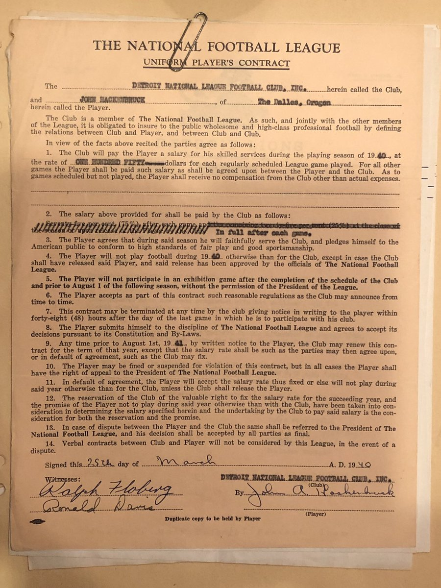 """Grandpa's NFL contract. $150 per game for Detroit Lions in 1940. He played 1 year (alongside future Supreme Court justice Byron """"Whizzer"""" White) and then led beach raids in Japan for the US Army. I've literally done nothing in life LOL. <br>http://pic.twitter.com/edFktaHldb"""