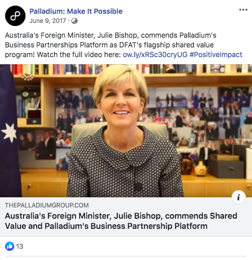 I wonder why the page this Facebook post links to (to watch the full video) has been deleted from the Palladium website🤔Its a *mystery* @AmyRemeikis URL is Australias-Foreign-Minister-Julie-Bishop-commends-Shared-Value-and-Palladiums-Business-Partnership-Platform