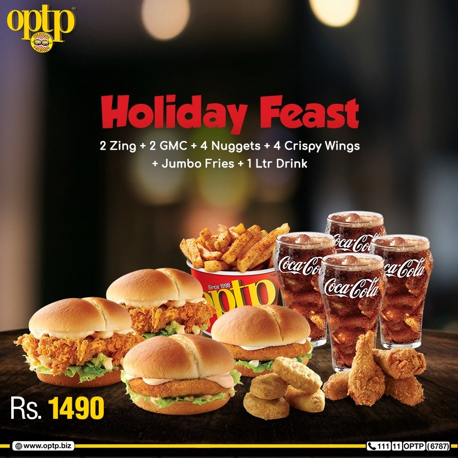 OPTP Holiday Feast!Get 2 Zing, 2 GMC (Hot/Original), 4 Nuggets, 4 Crispy Wings, Jumbo Fries (Plain/Masala) & 1 ltr Drink for Rs. 1490.#OPTP #DifferentIsGood #HolidayFeast #Zing #GMC #Burgers #Nuggets #ChickenWings #Fries #Offers #Deals #optpfries