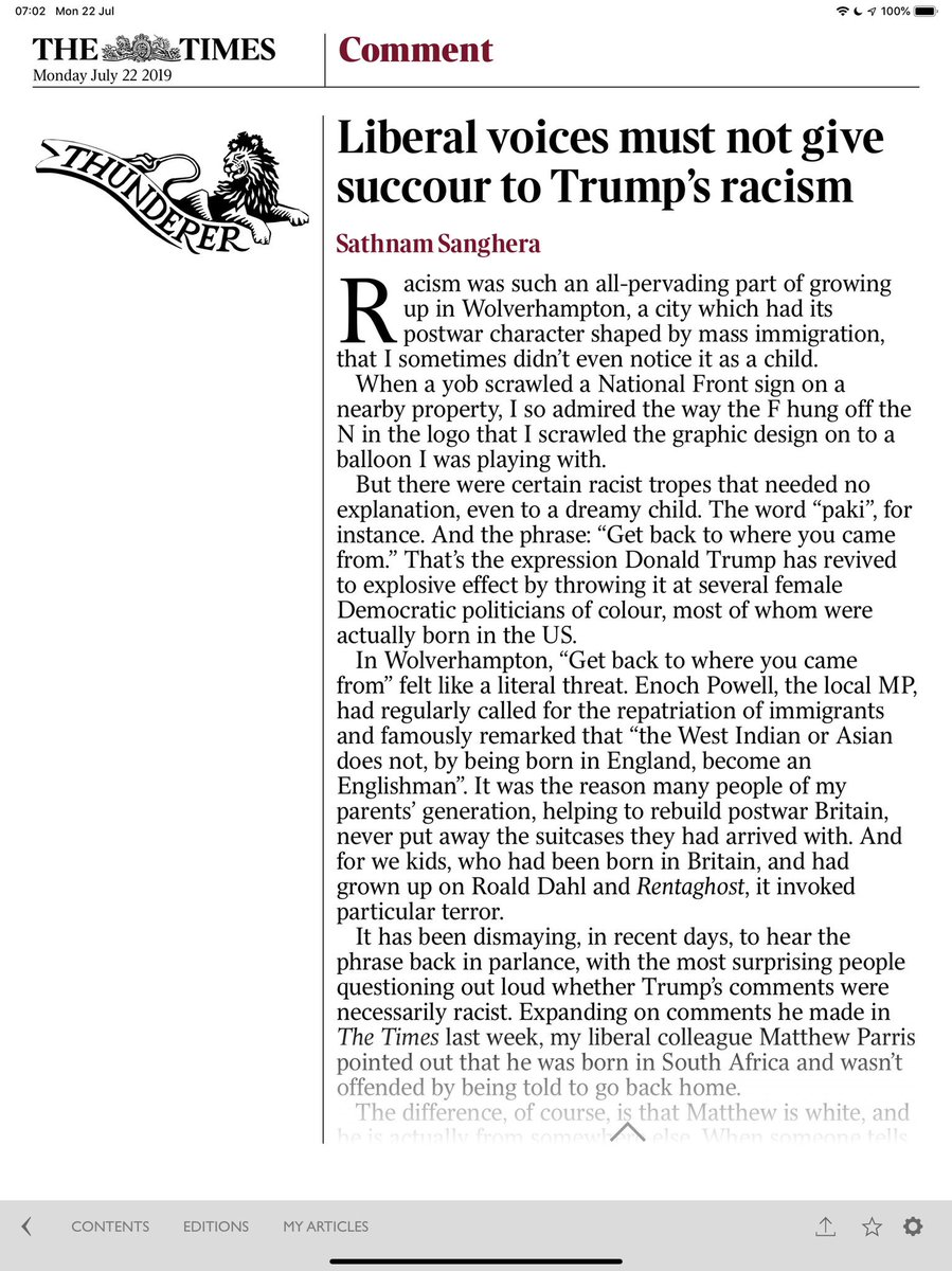 """The superb @Sathnam reminds us how totally racist """"send them back"""" is and (my words) any white person with an ounce of humility should agree with him 100pc and act on it. Agree too that """"second generation immigrants"""" is nonsensical..."""