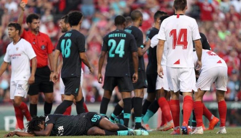 A disgrace. Liverpool were left fuming after Yasser Larouci was hit full throttle by Sevilla defender Joris Gnagons horrendous red-card tackle in their pre-season friendly. More: bbc.in/2XWb3Bk