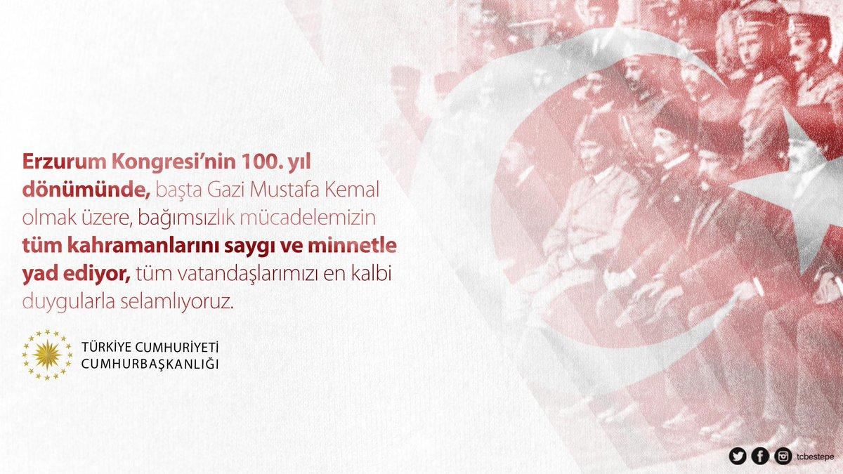 Erzurum Kongresi'nin 100. yıl dönümünde, başta Gazi Mustafa Kemal olmak üzere, bağımsızlık mücadelemizin tüm kahramanlarını saygı ve minnetle yad ediyor, tüm vatandaşlarımızı en kalbi duygularla selamlıyoruz. https://www.tccb.gov.tr/basin-aciklamalari/365/107103/erzurum-kongresi-nin-yil-donumu…