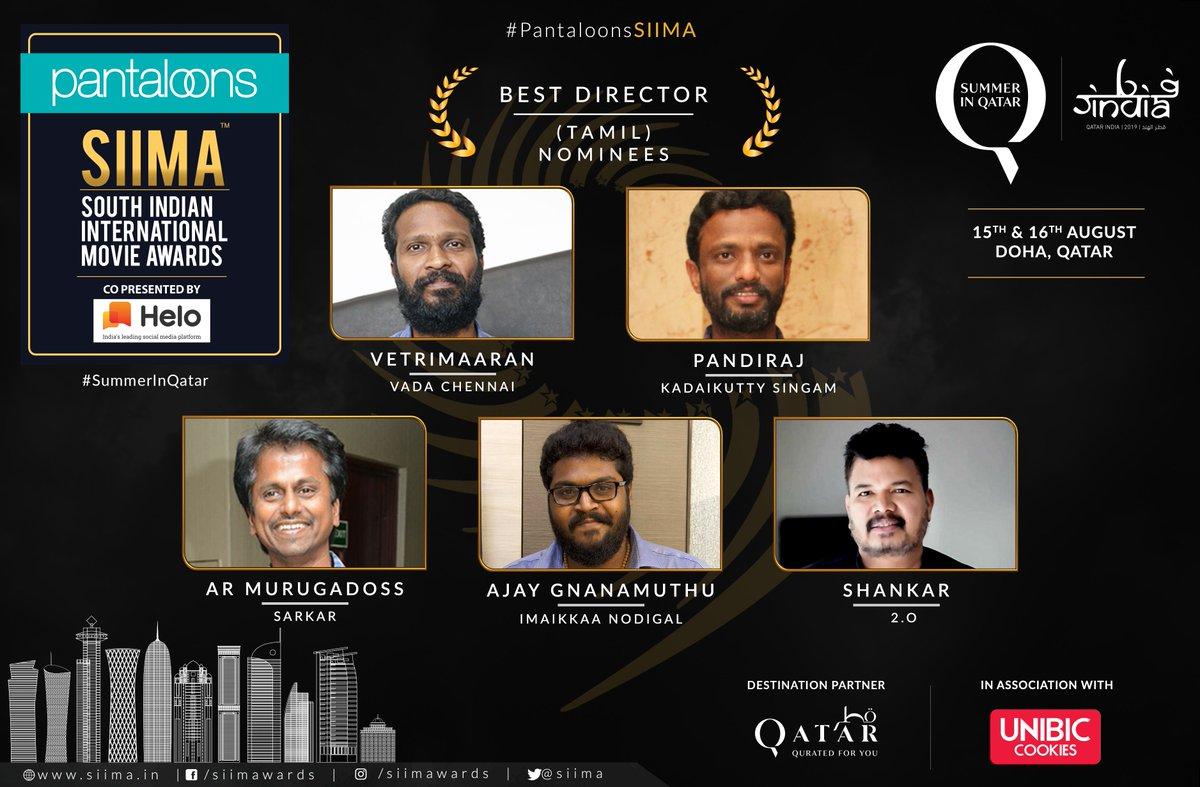 Pantaloons SIIMA 2019 Nominations for the Best Director-Tamil @VetriMaaran  @pandiraj_dir @ARMurugadoss @AjayGnanamuthu & @shankarshanmugh  Vote now at http://siima.in/nomination.php  #PantaloonsSIIMA #SIIMAinQatar  #HeloApp #SummerInQatar #ONEFMQATAR #VIBRI @pantaloonsindia @VisitQatar