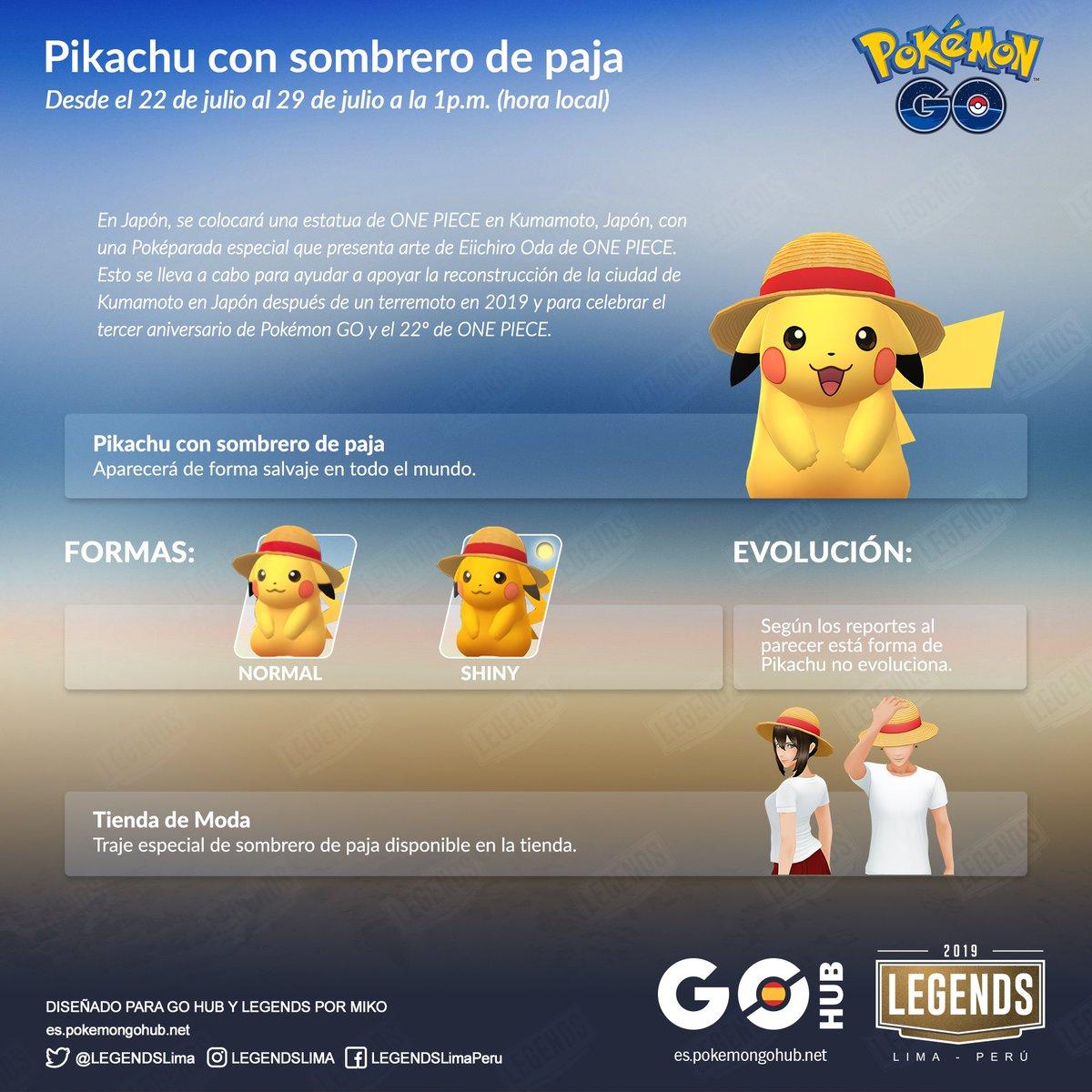 e9278319 ... 1 p.m. (hora local), Pikachu aparecerá con con un sombrero de paja de  forma salvaje en todo el mundo. Aquí te dejamos la infografía con toda la  ...