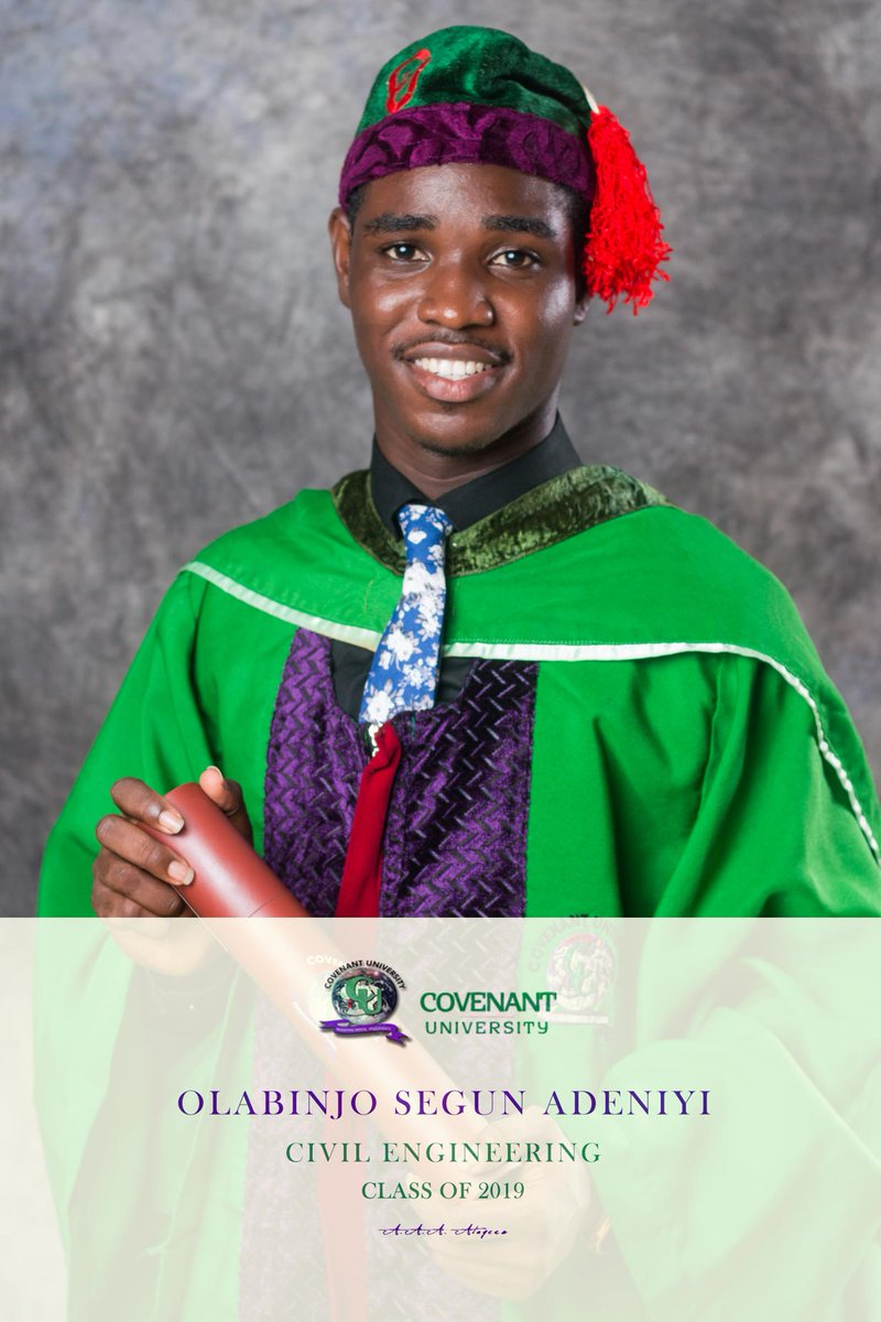 Hey guys, I bagged a B.Eng in Civil Engineering from the Prestigious Covenant University @CUHEBRON .I didn't Just graduate with knowledge in Engineering and Mathematics,CU has put alot about Life-matics in me. I am glad to have gone throughCU. To jesus be my Glory. #the14thsetcu<br>http://pic.twitter.com/Fa2r3A8C3H