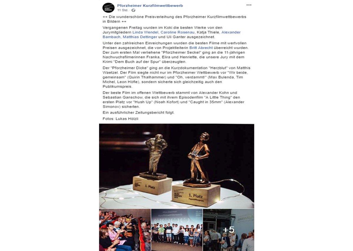 Preisverleihung des Pforzheimer Kurzfilmwettbewerbs  Danke, die Mitarbeit in der Jury hat sehr viel Spaß gemacht!   #Pforzheim #Preisverleihung #KommunalesKino #Filme #Kurzfilmwettbewerb #Kurzfilme #Event #Veranstaltung #Kurzfilm #BadenWürttemberg #KoKi   https://bit.ly/2M8tZFFpic.twitter.com/OqswKvwg7a