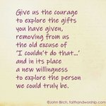 Image for the Tweet beginning: Give us the courage..... #prayer #gifts