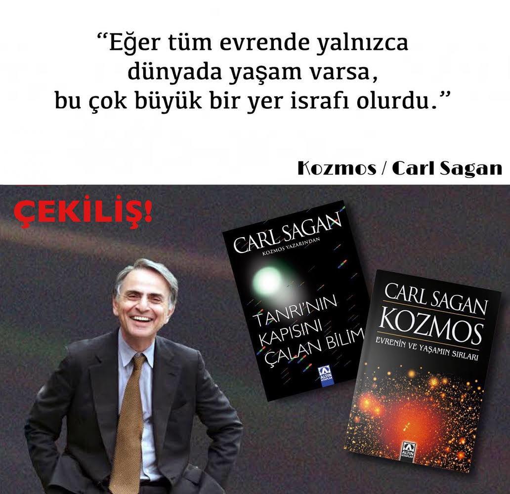 """Carl Sagan'ın """"Kozmos"""" ve """"Tanrı'nın Kapısını Çalan Bilim"""" kitaplarını kazananlar;  ✅ @GamzeCiceekk  ✅ @fatihkapucu Tebrik ederiz! https://t.co/DG66GrHsek"""