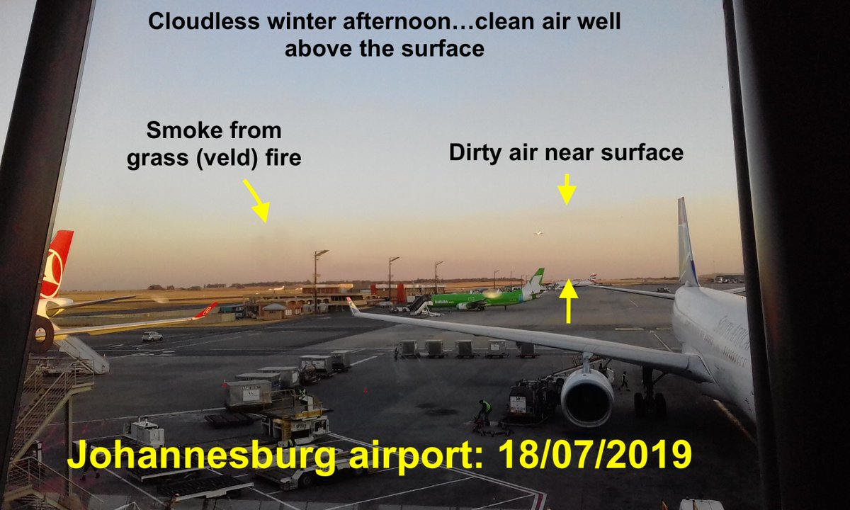 Its hard to see air pollution in cloudy Irish skies. This was Joburg airport last week - sky clear but dirty air obvious near ground. Mostly particle pollution, with feint grass fire smoke plume. Like Ireland, solid fuel burning is major cause of poor air quality in SA