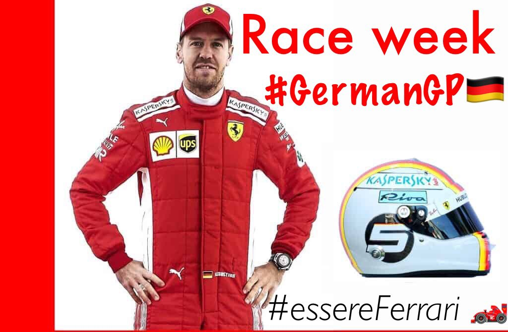Race week #GermanGP 🇩🇪 @GermanGrandPrix  Sebastian Vettel home race! 🏎🏁 @ScuderiaFerrari  #F1 #Seb5 #essereferrari #ForzaFerrari
