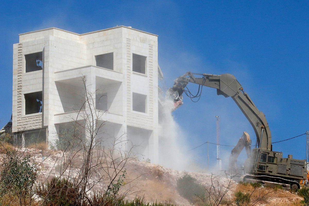 Israel demolished dozens of Palestinian homes outside illegally occupied east Jerusalem.  The UN says at least 20 people were displaced.  Israel says the homes were too close to its West Bank separation barrier, which it built mostly on occupied Palestinian land. <br>http://pic.twitter.com/prIyRL5t4i
