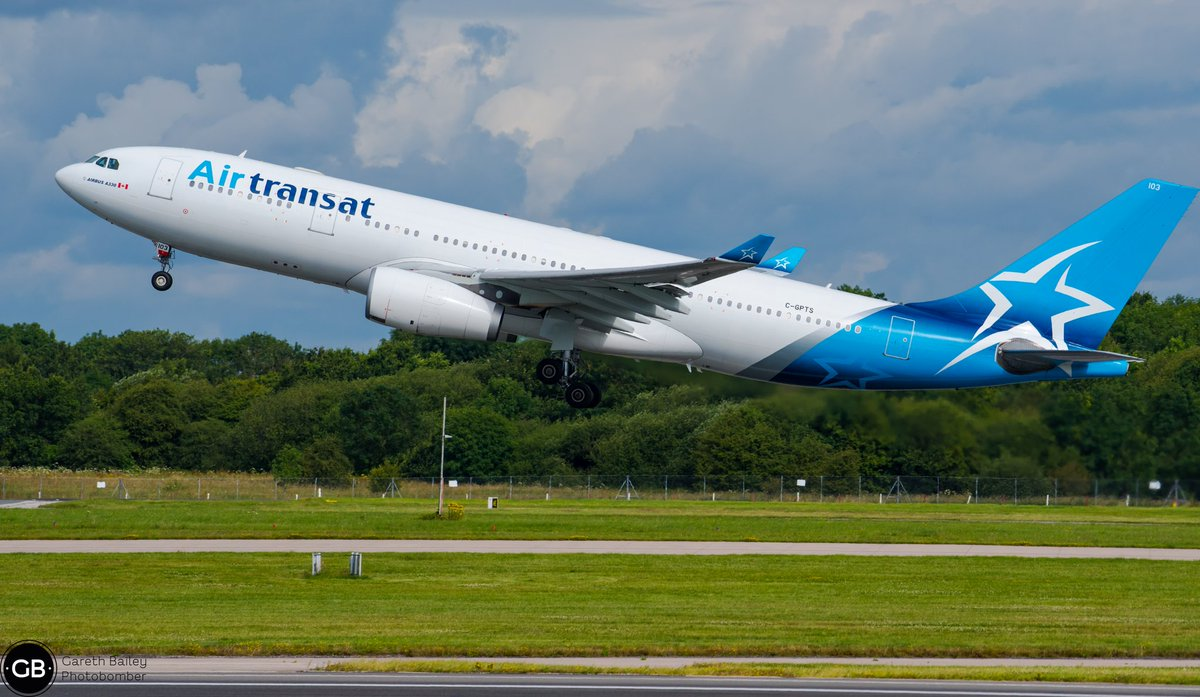 @airtransat Airbus A330 leaving sunny @manairport #manchesterairport #avgeek #Aviation #aviationphotography #nikond750 #nikonphotography #aircraft #aircraftphotography #airbus #airbusa330 #a330 #photography