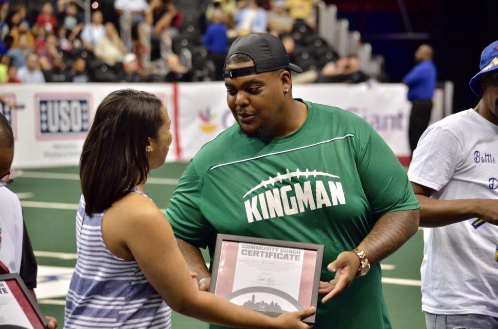 Congrats to Coach Tae (@Tae_Mula21) of Kingman Green Machine Football for being recognized as a community leader at yesterday's @WashingtonValor game. Photo by @ker_dc. #nedc