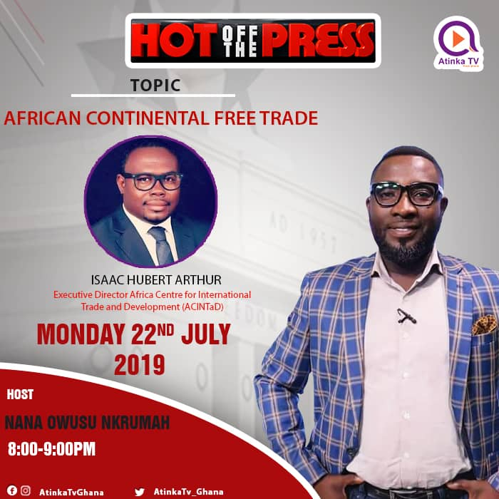 Our Executive Director, Isaac Hubert Arthur will be speaking today on Atinka TV at 8pm  local time on the African Continental Free Trade Area as part of our sensitization work on the AfCFTA.Make time to watch.#AfCFTA#ACINTaD#trade#ghana
