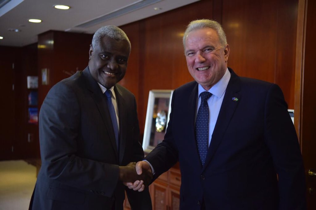 A few days after the #AUSummit, I was happy to express to Chairperson @AUC_MoussaFaki our admiration and support to the #AfCFTA. We stood by the #AU since the beginning of the AfCFTA journey and will continue to remain committed partners in supporting African integration. #AUEU