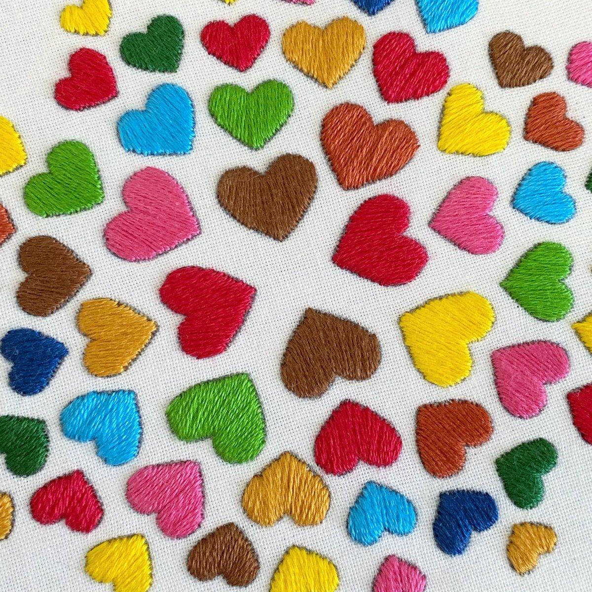 Hearts pattern coming soon....♥️   #heart #hearts #colorfulhearts #heartburst #diyhearts #heartembroidery #heartpattern #embroiderykit #handembroidery #makeyourown #diykit #craftkit #workinprogress #DIY #embroidery
