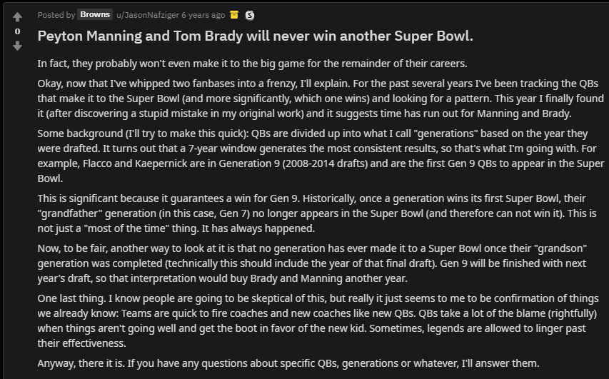 Every single Super Bowl since this post has had Tom Brady or Peyton Manning.... <br>http://pic.twitter.com/v6ontcmW6b