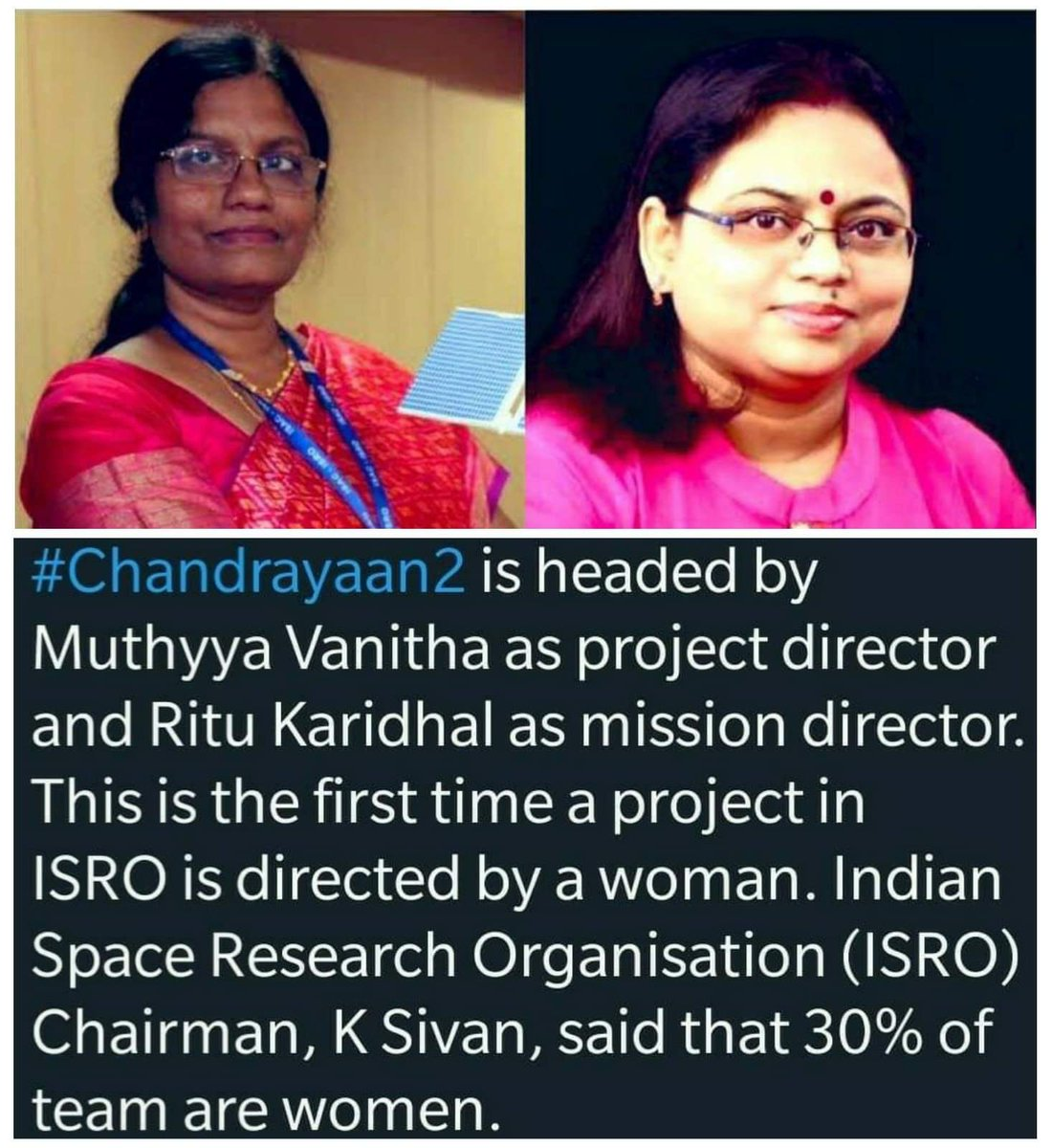 #ISRO #CHANDRAYAAN2  Project Director: #VanithaMutthayya  Mission Director: #RituKaridhal  🇮🇳 ON THE MOON ⚪  #WOMENEMPOWERMENT 🙏