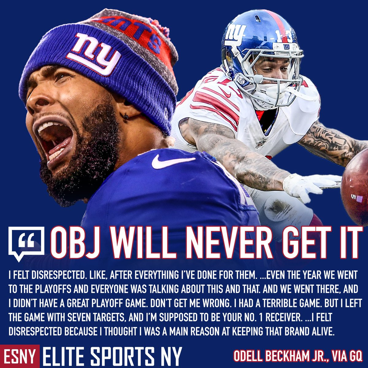 "Odell Beckham Jr. will never ""get it."" One sentence alone lets us in a not-so-little secret: he thought he was BIGGER than the New York Giants. #GiantsPride<br>http://pic.twitter.com/xI4iuXupHP"