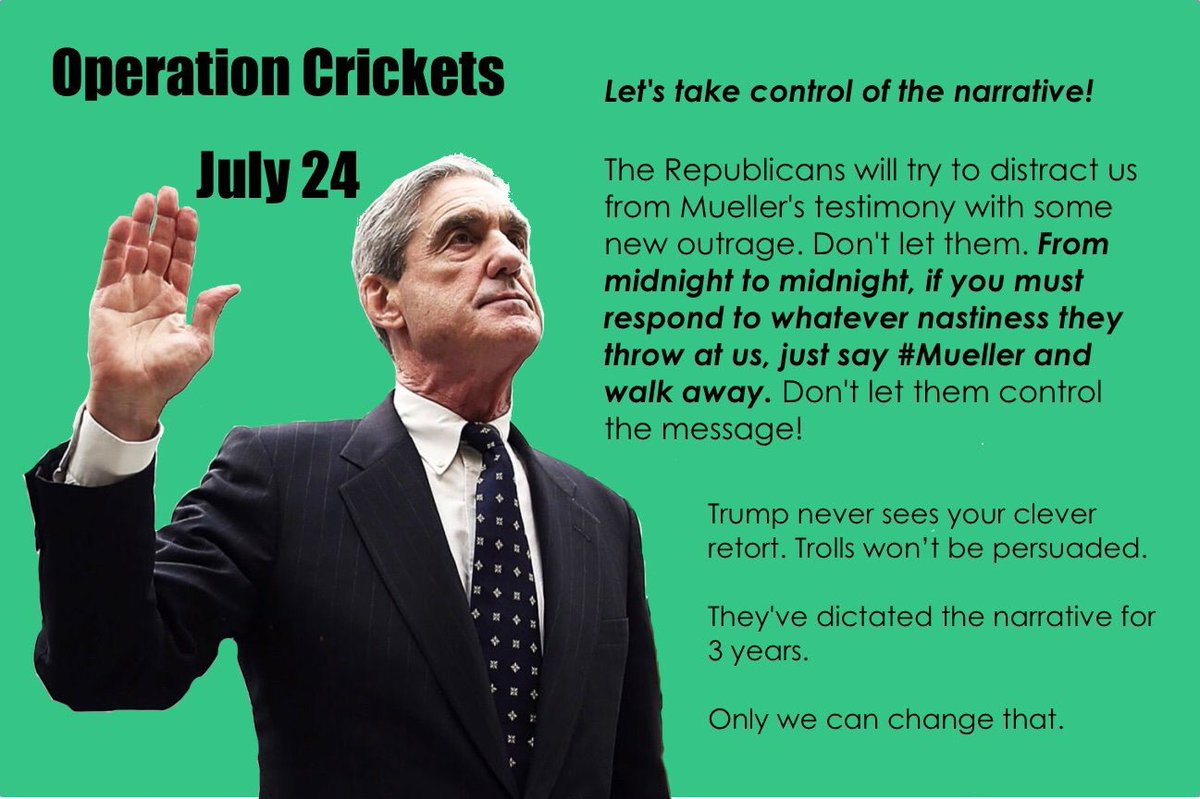 Wednesday is the most important day in the last 30 months. Let's keep the focus where it belongs!  Please retweet far and wide so America hears Mueller loud and clear.