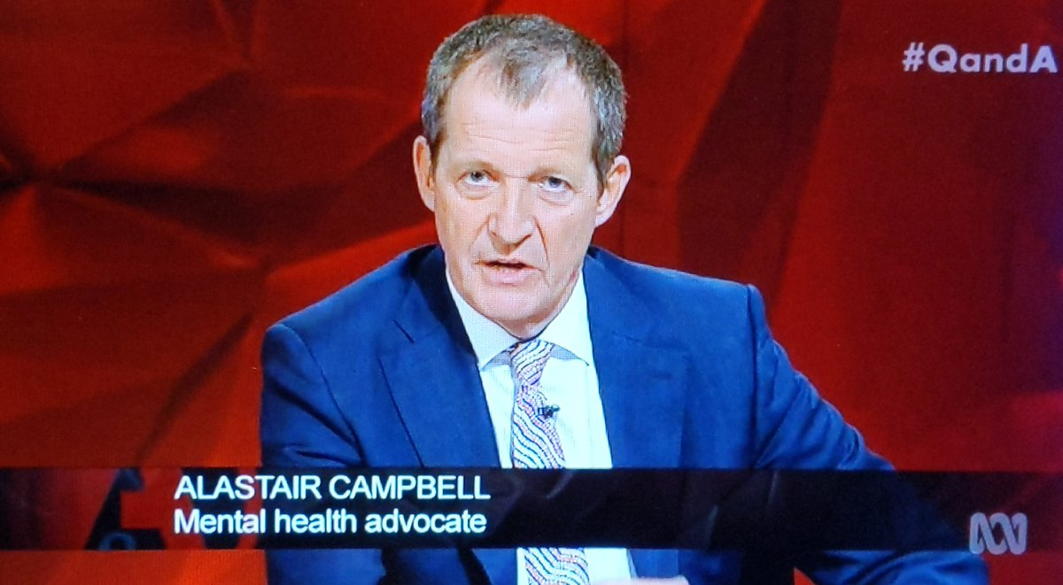 """We applaud mental health advocate Alastair Campbell using his lived experience of psychosis and depression tonight on the ABC to break down stigma: """"I think that's been an advantage to me. It gives me resilience. It gives me empathy."""" #qanda <br>http://pic.twitter.com/h0YVUPonzy"""