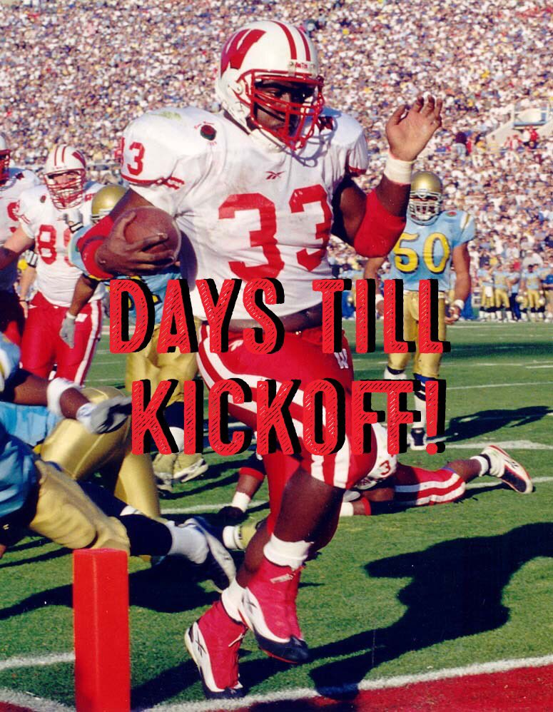 We are @Ron33Dayne days away from #collegefootball #kickoff. Dayne carried the ball 1,220 times, for 6,397 yards & lead @BadgerFootball in TWO @rosebowlgame victories. His 7,125 yards is still an @NCAAFootball record & helped him win the @HeismanTrophy #countdowntokickoff #33Days