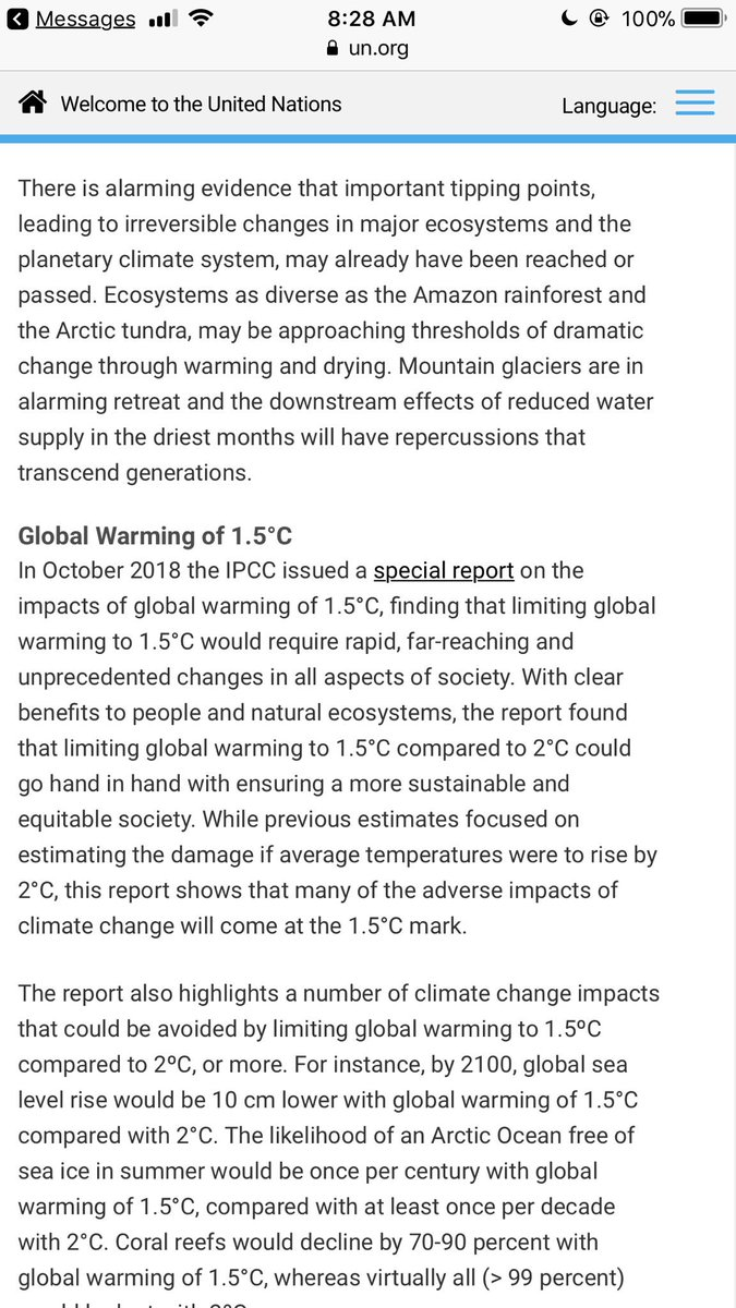 the UN released a 740 page report compiled over six years by 250 scientists from 70 nations that basically states that unless drastic measures are taken to combat climate change, we are looking at mass extinction by 2050. At this point I don't know if having kids is even ethical <br>http://pic.twitter.com/CsdTSpfRPv