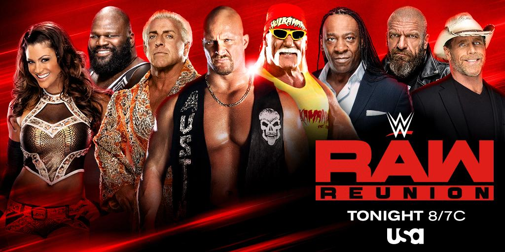 The Biggest Reunion in #WWE history is happening tonight! Tune in 8/7c on @USANetworkTV