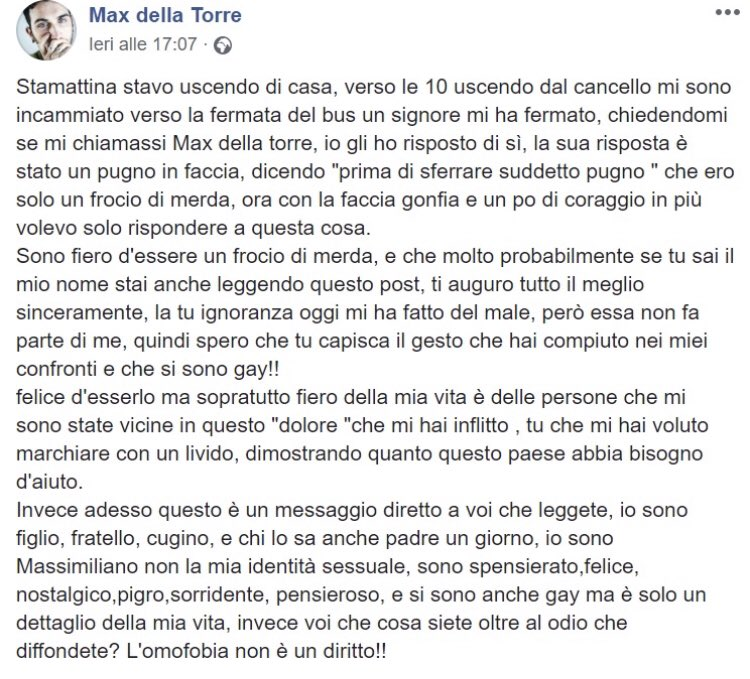 """Intanto i frutti dell'odio li paghiamo sulla nostra pelle e sui nostri volti. """"Sei solo un frocio di merda"""" e poi un pugno in faccia. Stavolta è successo a Max, a Como. Italia, 2019. Ancora #omofobia"""