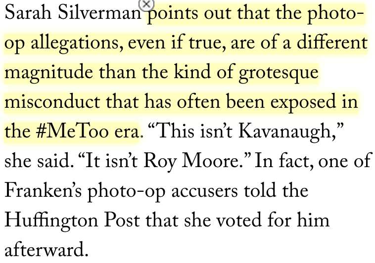 """If you want to make *this* argument—that there are degrees of misconduct & this didn't rise to the level of warranting resignation—I don't know if I agree but that's honest at least.   Instead, though, Ds defending Franken make these totally incoherent claims about """"due process""""."""