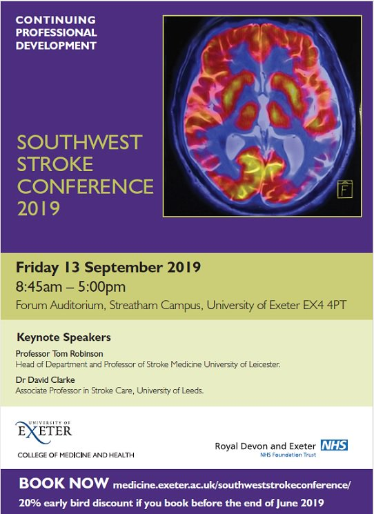 Coming up at #SWStroke2019 Fri 13 Sep @UniofExeter, an exciting programme & line-up of exceptional national and regional experts in #stroke care Learn more & book here: http://bit.ly/2FhofW7  Submit an abstract for a poster here: http://bit.ly/2JIhqiC  @ExeterMedCPD @ExeterMed