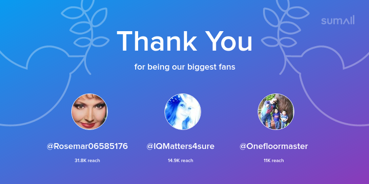 Our biggest fans this week: Rosemar06585176, IQMatters4sure, Onefloormaster. Thank you! via https://sumall.com/thankyou?utm_source=twitter&utm_medium=publishing&utm_campaign=thank_you_tweet&utm_content=text_and_media&utm_term=607d9ff692a8da33c44efacf …
