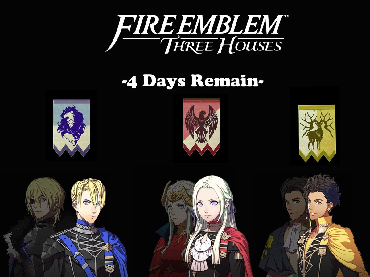 4 days remain until #FireEmblemThreeHouses comes out in July 26th on the #NintendoSwitch ! <br>http://pic.twitter.com/j2p7mGCZCu