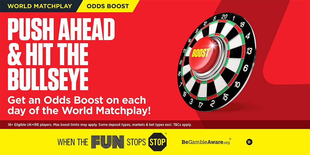 Step up to the oche and grab an #OddsBoost for every day of the Darts World Matchplay! 👉 lbrk.es/b3qM30pbcDB