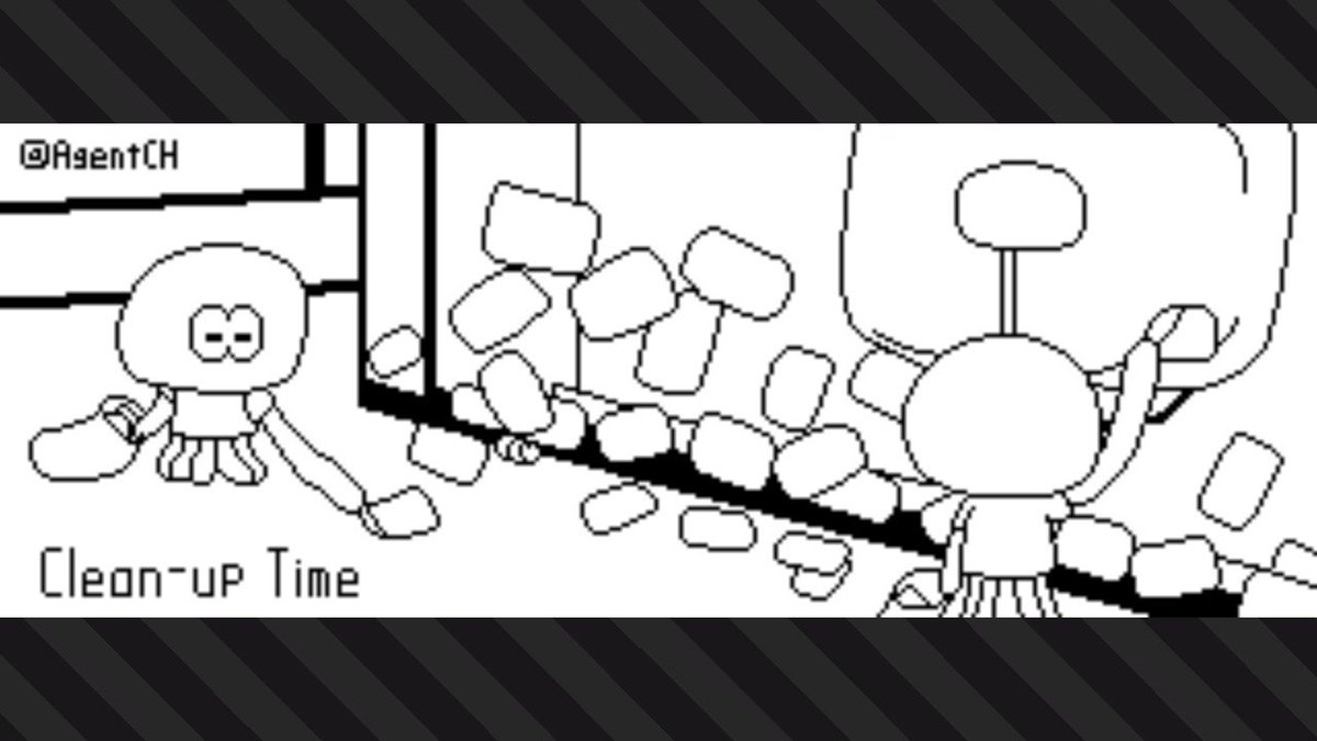 Hard-working jellyfish cleaning up the stickers after the Splatfest. #Splatoon2 #NintendoSwitch <br>http://pic.twitter.com/ponz76htZi