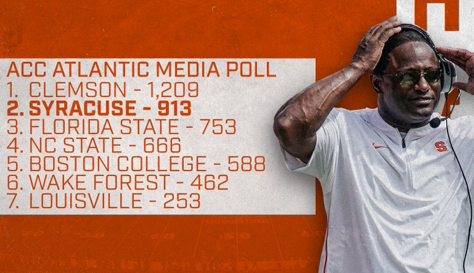 Where is Syracuse football predicted to finish in ACC?